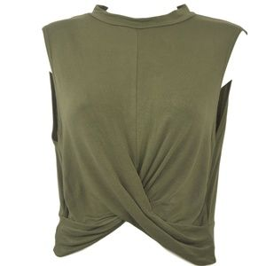 Topshop Khaki Front Knot Sleeveless Top